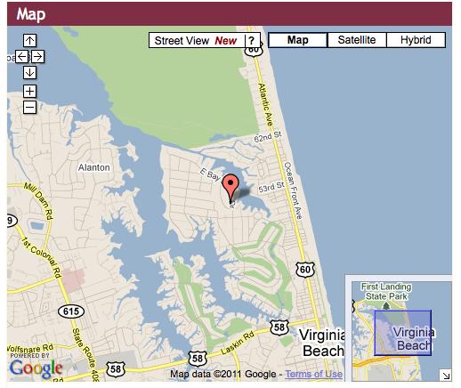 google map of Bay Colony in Va. Beach